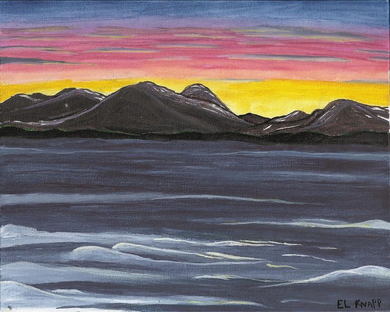 Watercolor landscape on canvas board